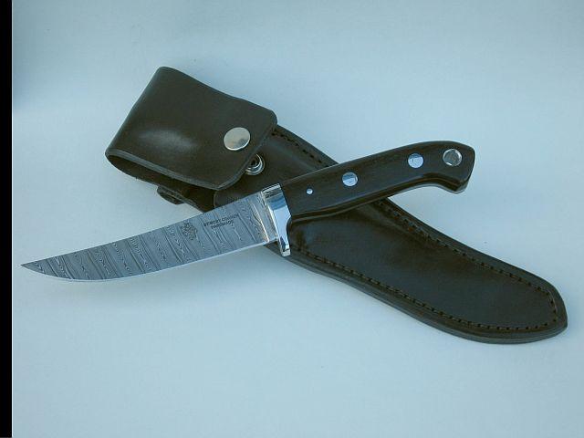 Freya stabalised bogoak handle Damas steel blade leather sheath