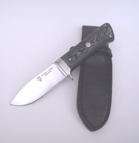 Lowland Skinner 5mm CPM Blade Tufnol Handle Stainless Steel fittings Leather Sheath