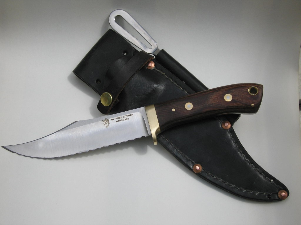 Heavy Waxed Leather Sheath copper rivet reinforced marlin spike ats 34 hollow ground blade serrated wood laminate handle bolted brass fittings