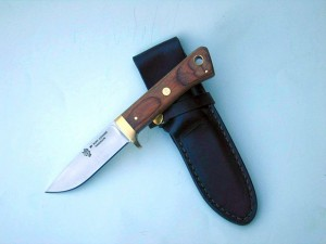 Drop Point Skinner Brass Fittings Wood Laminate Handle 5 mm CPM Blade Hollow Ground Leather Sheath